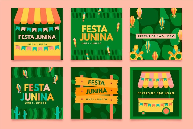 Flat design festa junina card collection template