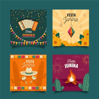 Flat design festa junina card collection