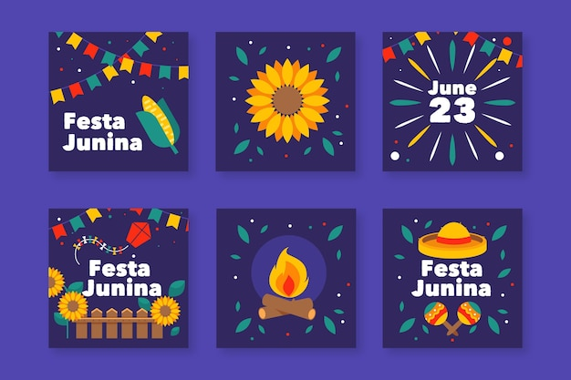 Flat design festa junina card pack template