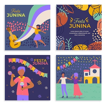 Flat design festa junina cards collection template