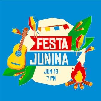 Плоский дизайн festa junina концепция
