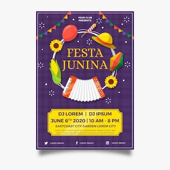 Плоский дизайн плаката festa junina праздничных предметов