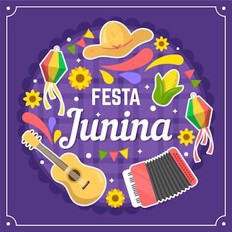 Плоский дизайн festa junina праздничные объекты