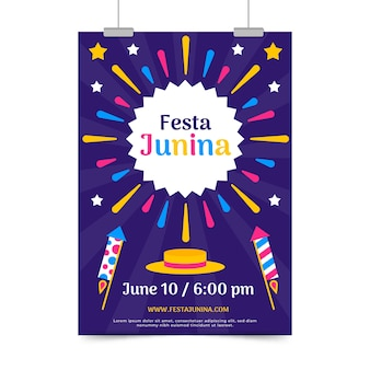 Flat design festa junina flyer template theme