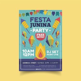 Flat design festa junina flyer template