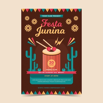 Flat design festa junina flyer template