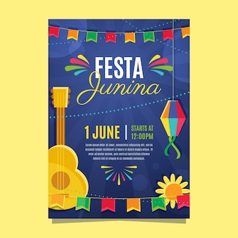 Плоский дизайн festa junina flyer