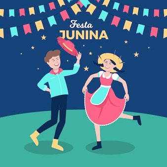 Плоский дизайн феста junina люди танцуют