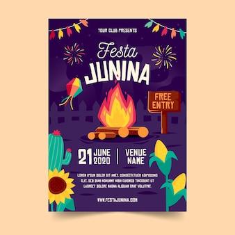 Flat design festa junina poster template