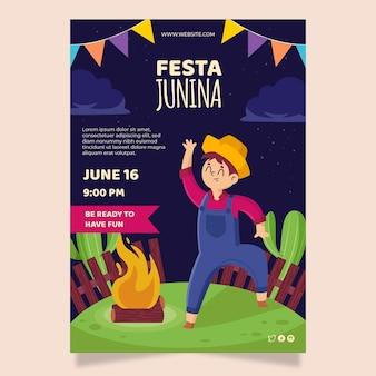 Плоский дизайн плаката festa junina