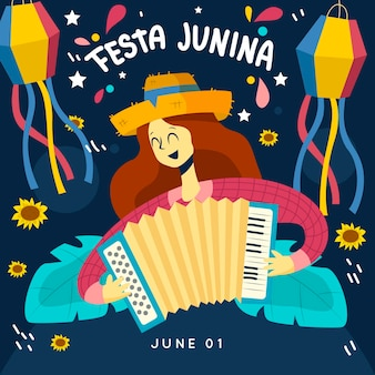 평면 디자인 축제 junina