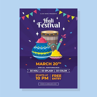 Flat design festival flyer template