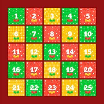 Flat design festive advent calendar