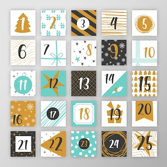 Flat design festive advent calendar