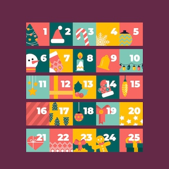 Calendario dell'avvento festivo design piatto