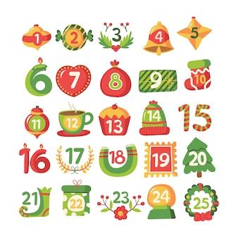 Flat design festive advent callendar