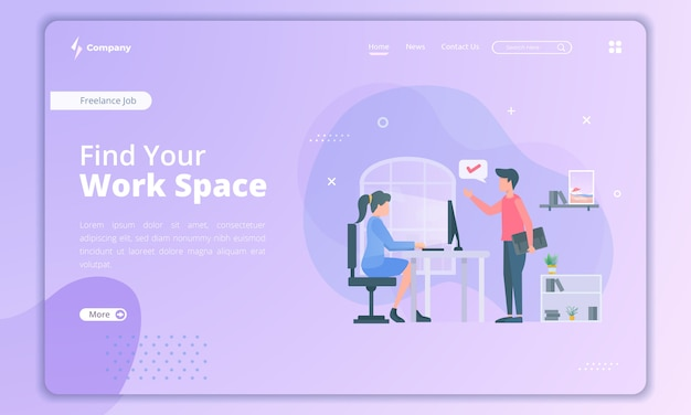 Flat design of find new work space for freelancer landing page