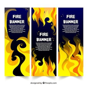 Плоский дизайн огненный баннер
