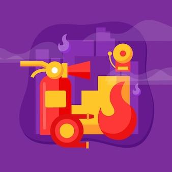 フラットデザインの消火器