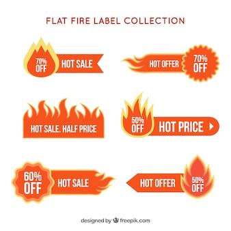 フラットデザインの火災ラベル/バッジコレクション