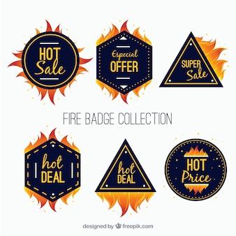 평면 디자인 화재 라벨 / 배지 수집