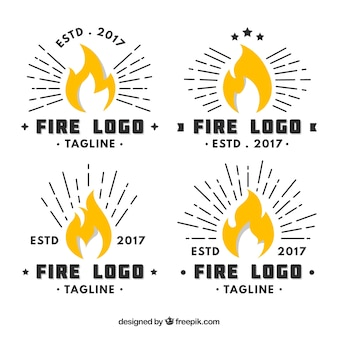 Flat design fire logo collection