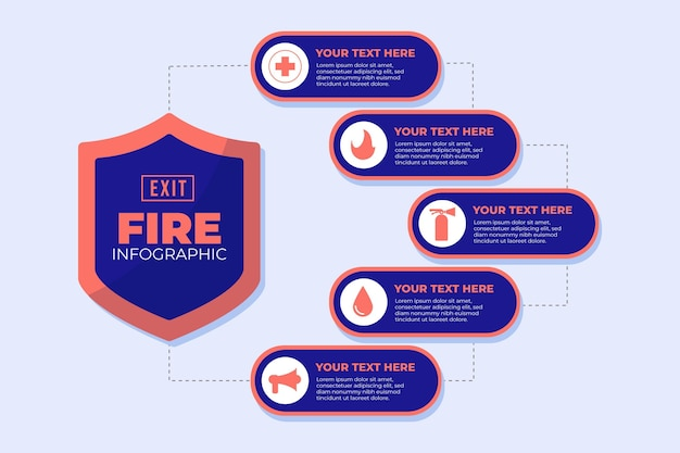 Flat design fire prevention infographic template