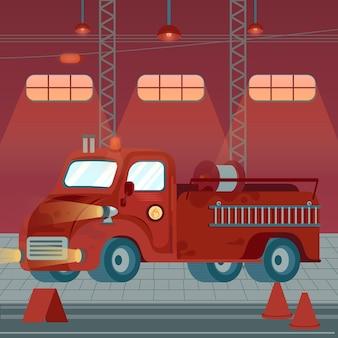 Illustrazione della caserma dei pompieri dal design piatto