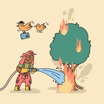 火を消すフラットデザインの消防士