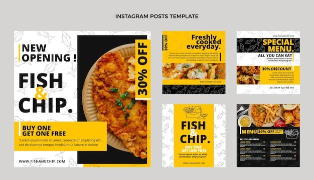 평면 디자인 피쉬 앤 칩스 음식 인스타그램 포스트