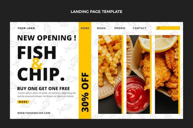 평면 디자인 피쉬 앤 칩스 음식 방문 페이지