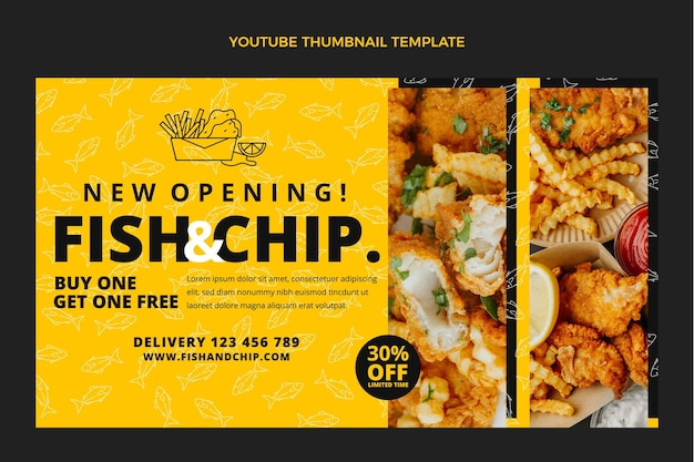 Miniatura di youtube con cibo di pesce e patatine dal design piatto