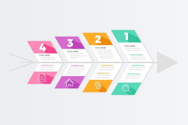 Flat design fishbone infographic