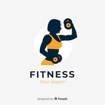 Flat design fitness logo template