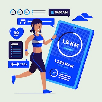 Flat design fitness tracker concept