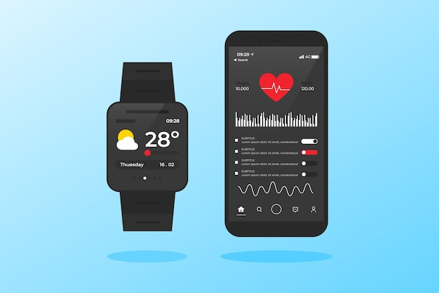 Menu della frequenza cardiaca con tracker fitness design piatto