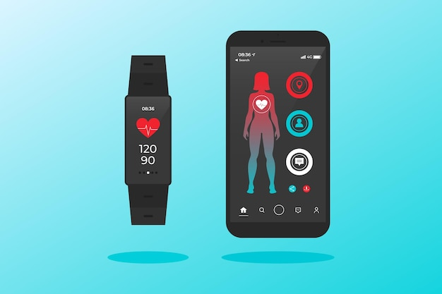 Flat design fitness trackers with woman character