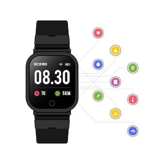 Flat design fitness trackers