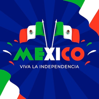 Flat design flags international day of mexico