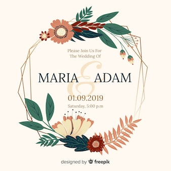 Flat design of flat frame wedding invitation