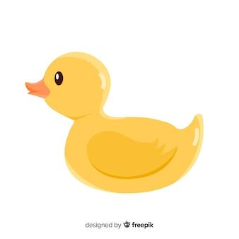 Плоская конструкция плавающей желтой резиновой утки
