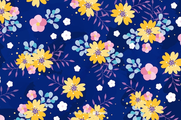 Flat design floral background style