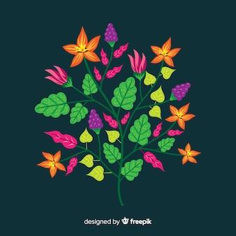 フラットなデザインの花の枝
