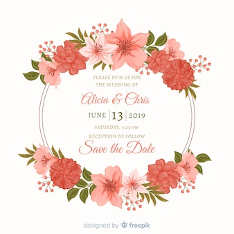 Flat design of floral frame wedding invitation