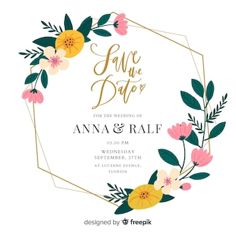 Flat design of floral frame wedding invitation
