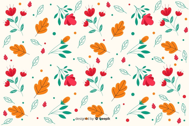 Flat design floral pattern background