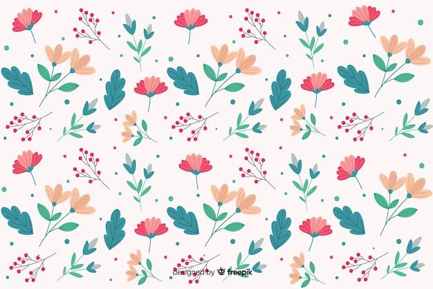Flat design floral pattern background