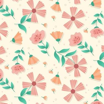 복숭아 톤의 평면 디자인 꽃 패턴
