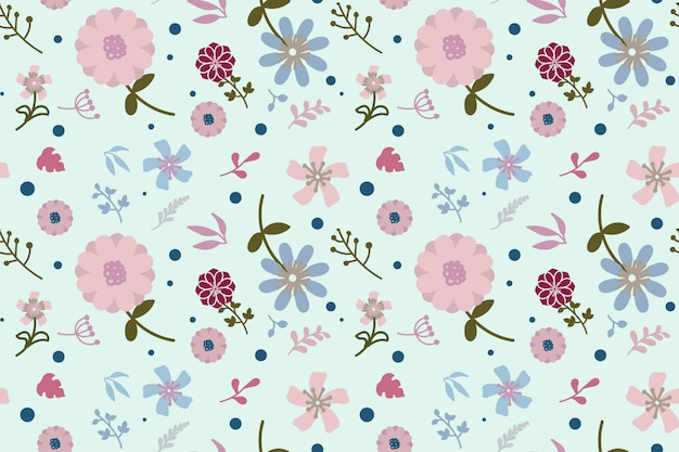Flat design floral seamless pattern background