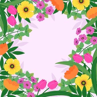 フラットなデザインの花春の背景